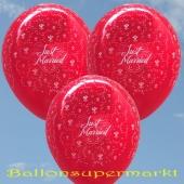 Luftballons zur Hochzeit, Just Married, Rubinrot, 10 Stück Latexballons, 30 cm