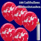 Luftballons Helium Maxi Set, 100 Luftballons in Rubinrot mit weißen Hochzeitstauben