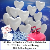 Luftballons zur Hochzeit steigen lassen, 100 weiße Herzluftballons Helium-Einweg Set mit Ballonflugkarten