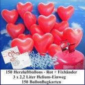 Luftballons zur Hochzeit steigen lassen, 150 rote Herzluftballons Helium-Einweg Set mit Ballonflugkarten
