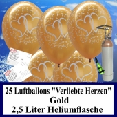 """Luftballons zur Hochzeit steigen lassen, 30 Luftballons """"Verliebte Herzen"""", gold, mit der 2,5 Liter Ballongas-Heliumflasche"""