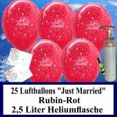 Luftballons zur Hochzeit steigen lassen, 25 Luftballons Just Married, rubinrot, mit der 2,5 Liter Ballongas-Heliumflasche