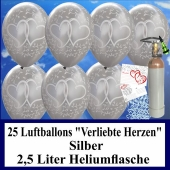 """Luftballons zur Hochzeit steigen lassen, 30 Luftballons """"Verliebte Herzen"""", silber, mit der 2,5 Liter Ballongas-Heliumflasche"""