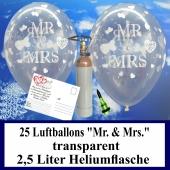 Luftballons zur Hochzeit steigen lassen, 25 Luftballons Mr. & Mrs., transparent, mit der 2,5 Liter Ballongas-Heliumflasche