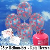 Luftballons zur Hochzeit steigen lassen, transparente Rundluftballons mit roten Herzen, Helium-Einweg Set mit Ballonflugkarten