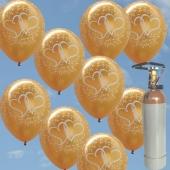 """Luftballons zur Hochzeit steigen lassen, 50 Luftballons """"Verliebte Herzen"""", gold, mit der 5 Liter Ballongas-Heliumflasche"""