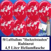 Luftballons zur Hochzeit steigen lassen, 50 Luftballons Hochzeitstauben, rubinrot, mit der 4,5 Liter Ballongas-Heliumflasche