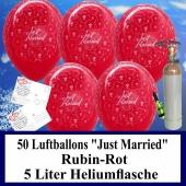 Luftballons zur Hochzeit steigen lassen, 50 Luftballons Just Married, rubinrot, mit der 5 Liter Ballongas-Heliumflasche