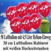 Luftballons zur Hochzeit steigen lassen, 50 Luftballons Hochzeitstauben, rubinrot, mit der 4,5 Liter Ballongas-Helium-Einwegflasche
