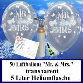 Luftballons zur Hochzeit steigen lassen, 50 Luftballons Mr. & Mrs., transparent, mit der 5 Liter Ballongas-Heliumflasche