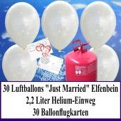 Luftballons zur Hochzeit steigen lassen, Rundluftballons perlmutt-elfenbein, Just Married, Helium-Einweg Set mit Ballonflugkarten