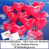 Luftballons zur Hochzeit steigen lassen, rote Herzluftballons, Alles Gute zur Hochzeit, Helium-Einweg Set mit Ballonflugkarten