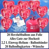 Luftballons zur Hochzeit steigen lassen, rote Herzluftballons aus Folie, Alles Gute zur Hochzeit, Helium-Einweg Set mit Ballonflugkarten