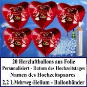 Luftballons zur Hochzeit steigen lassen, 20 rote Herzluftballons aus Folie mit Namen des Hochzeitspaares und Datum des Hochzeitstages, Helium-Mehrweg-Set