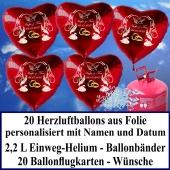 Luftballons zur Hochzeit steigen lassen, rote Herzluftballons aus Folie, personalisiert, mit Namen des Hochzeitspaares und Datum des Hochzeitstages, Helium-Einweg Set mit Ballonflugkarten