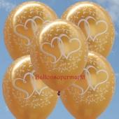 Luftballons zur Hochzeit, Verliebte Herzen, Gold-Metallic, 10 Stück Latexballons, 30 cm