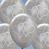 Luftballons zur Hochzeit, Verliebte Herzen, Silber-Metallic, 10 Stück Latexballons, 30 cm