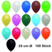 Luftballons Bunt gemischt, 25 cm, 100 Stück, preiswert und günstig