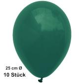 Luftballons Dunkelgrün, 25 cm, 10 Stück, preiswert und günstig