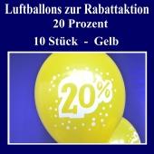 Luftballons zur Rabattaktion, 20 Prozent, Gelbe Ballons aus Latex