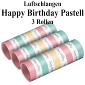 3 Rollen Luftschlangen Happy Birthday Pastell zum Geburtstag