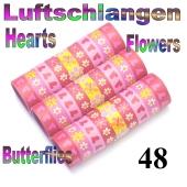 Luftschlangen Herzen, Blumen und Schmetterlinge, 48 Rollen