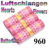 Luftschlangen Herzen, Blumen und Schmetterlinge, 960 Rollen