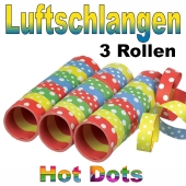 Hot Dots Streamers, Luftschlangen bunt gestreift mit weißen Punkten
