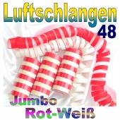 Luftschlangen Jumbo Rot-Weiß, 48 Rollen
