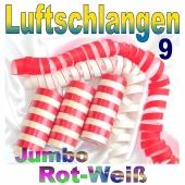 Luftschlangen Jumbo Rot-Weiß, 9 Rollen