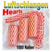 Luftschlangen mit Herzen, rot-weiß, 1000 Rollen