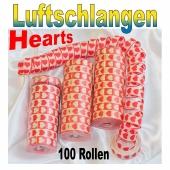 Luftschlangen mit Herzen, rot-weiß, 100 Rollen