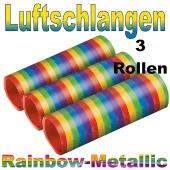 Luftschlangen in Regenbogenfarben, 3 Rollen