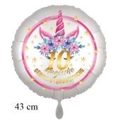 Magische Geburtstagswünsche, 10. Geburtstag, Luftballon aus Folie, Satin de Luxe, weiß, Unicorn Flowers