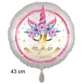 Magische Geburtstagswünsche, 4. Geburtstag, Luftballon aus Folie, Satin de Luxe, weiß, Unicorn Flowers