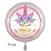 Magische Geburtstagswünsche, 6. Geburtstag, Luftballon aus Folie, Satin de Luxe, weiß, Unicorn Flowers