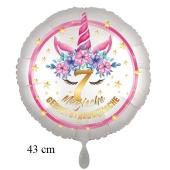 Magische Geburtstagswünsche, 7. Geburtstag, Luftballon aus Folie, Satin de Luxe, weiß, Unicorn Flowers