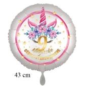 Magische Geburtstagswünsche, 9. Geburtstag, Luftballon aus Folie, Satin de Luxe, weiß, Unicorn Flowers