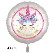 Magische Geburtstagswünsche, Luftballon aus Folie, Satin de Luxe, weiß, Unicorn Flowers