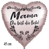 Mama du bist die Beste! Herzluftballon in Satinweiss, 45 cm, mit Helium