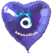 Türkisches Auge, Masallah Luftballon aus Folie mit Helium-Ballongas, Herzballon in Blau, zur Geburt eines Jungen