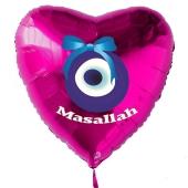 Türkisches Auge, Masallah Luftballon aus Folie mit Helium-Ballongas, Herzballon in Pink, zur Geburt eines Mädchens