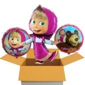 3 Luftballons aus Folie Mascha und der Bär, 1 großer Ballon und 2 kleine Ballons