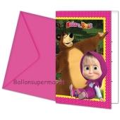 Mascha und der Bär Einladungskarten zum Kindergeburtstag