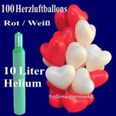 Luftballons zur Hochzeit, 100-herzluftballons-rot-weiss-ballons-helium-set-10-liter-ballongas
