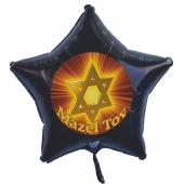 Mazel Tov Sternballon mit Judenstern, Luftballon aus Folie mit Helium-Ballongas