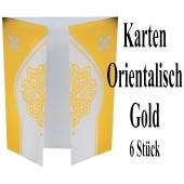 Karten orientalisch Gold, 6 Stück