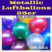 Metallic Luftballons bunt gemischt, 1000 Stück, 25-28 cm