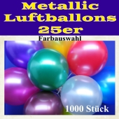 Metallic Luftballons mit Farbauswahl, 1000 Stück, 25-28 cm