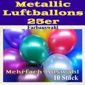 Luftballons 25 cm Metallic, 10 Stück, Mehrfache Farbauswahl
